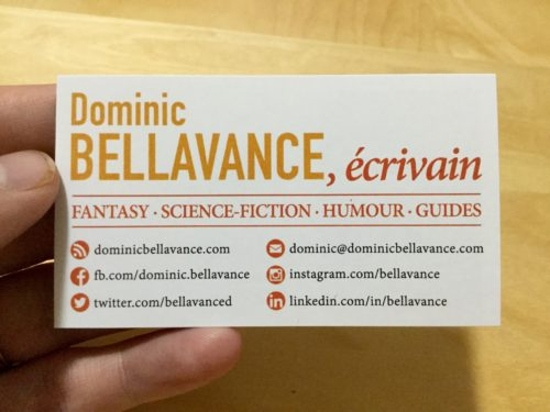 Cartes professionnelles Dominic Bellavance