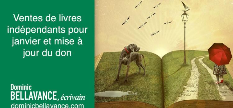 Ventes de livres indépendants pour janvier et mise à jour du don
