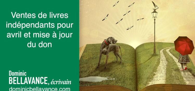 Ventes de livres indépendants pour avril et mise à jour du don
