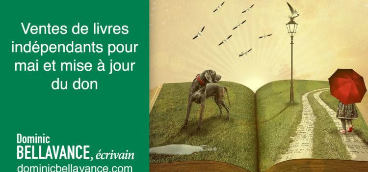 Ventes de livres indépendants pour mai et mise à jour du don