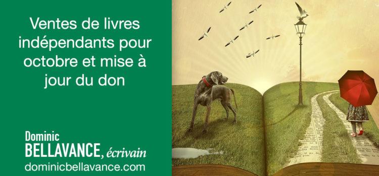 Ventes de livres indépendants pour octobre et mise à jour du don